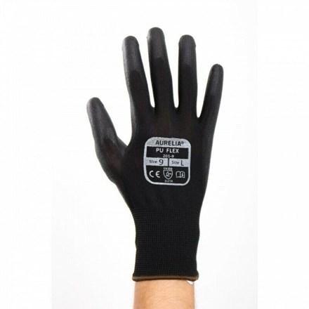 Gloves, Nylon, PU Flex Plus, PU Coated, Black, 12 Pairs Per Pack