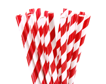 Paper straws, Red Stripe, 21cm, 6mm Bore, 250