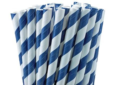 Paper straws, Blue Stripe, 21cm, 6mm Bore, 250