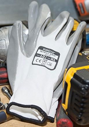 Gloves, Nylon, Nitrile Grip, Nitrile Coated, Grey, 12 Pairs Per Pack