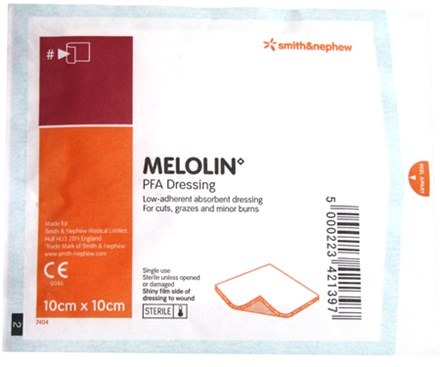 First Aid, Dressing, Melolin, Low Adherent, 10x10cm, 100