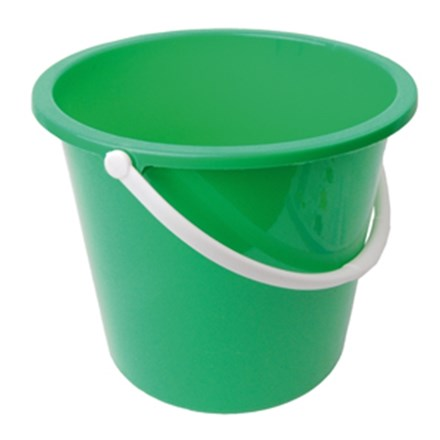Bucket, Plastic, Value, Green, 10 Ltr