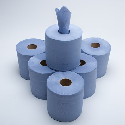 Handwipes, C/Feed Std. 1Ply Blue, 300m x 190mm, 6 Rolls