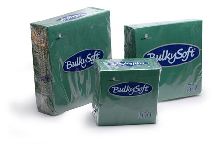 Napkins, BulkySoft, 24cm, 2Ply, Dark Green, 4000