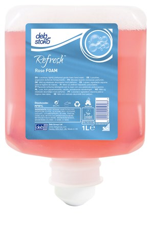 Soap, Hand, Deb Refresh Rose FOAM - 6 x 1 litre refills