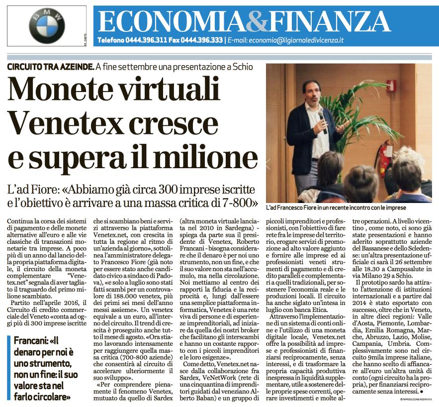 Il Giornale di Vicenza - 9 settembre 2017