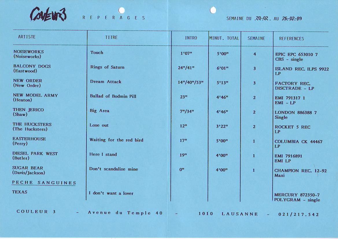 Medley Repérages - Semaine du 20 février 1989