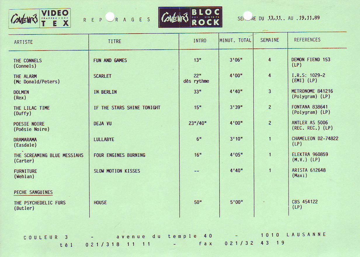 Medley Repérages - Semaine du 13 novembre 1989