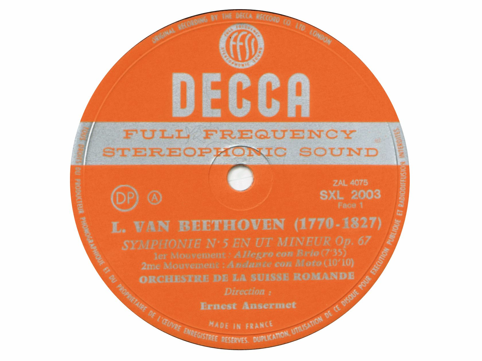 L. van Beethoven, Symphonie No 5, OSR, Ernest Ansermet, 1958 (disque)