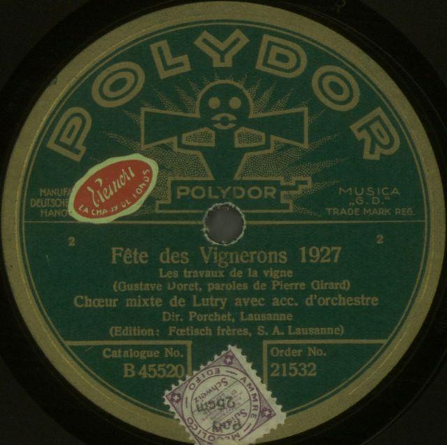 Choeur mixte de Lutry; Porchet, A.; Les travaux de la vigne; POLYDOR, 1928.