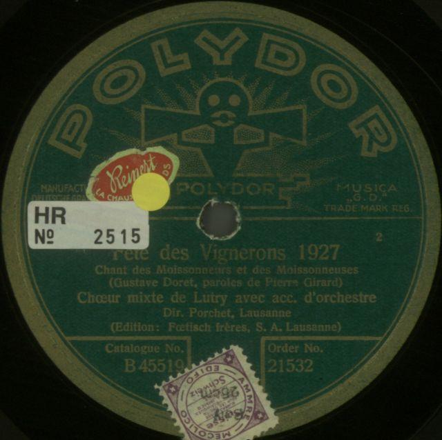 Choeur mixte de Lutry; Porchet, A.; Chant des moissonneurs; POLYDOR, 1928.