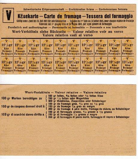 Rationnement fromage en 1919