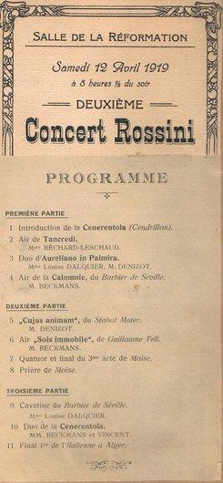 Programme Deuxième concert Rossini