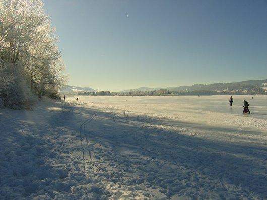 Le lac de Joux gelé