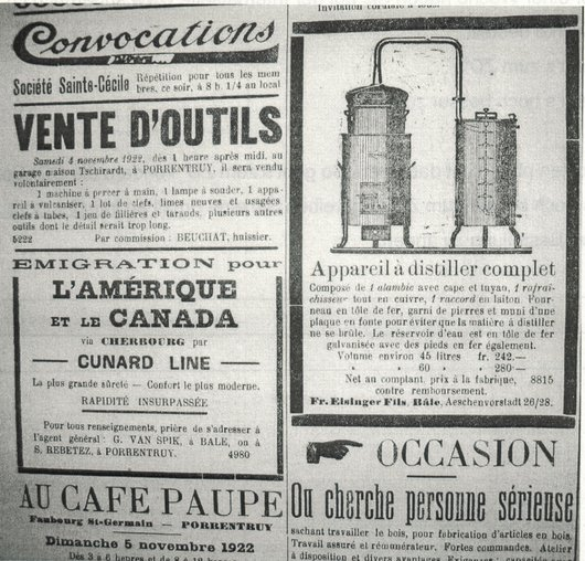 Réclame pour un alambic, Journal Le Pays, 1922