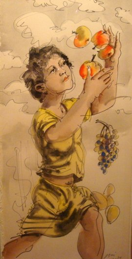 Fille avec pomme et raisin