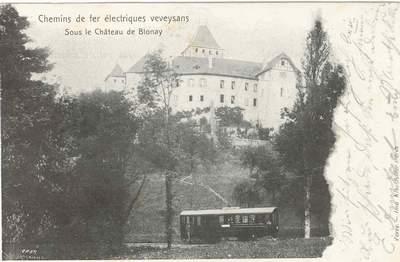 Train CEV sous le Château de Blonay