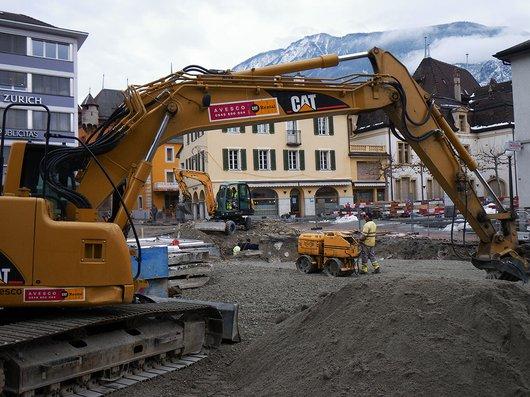 Sierre travaux près de la gare en 2009