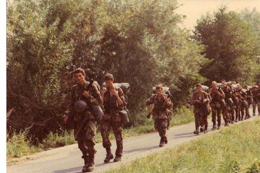 Ecole de recrues, ER inf. 202, comp. III, sect. 3, Colombier/NE 1983, marche à Bevaix/NE
