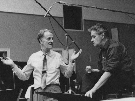 Victor Desarzens et Frank Martin lors de l' enregistrement du Vin Herbé