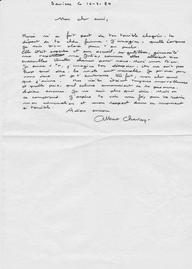 Lettre d'Albert Chavaz à Victor Desarzens  au décès de notre mère