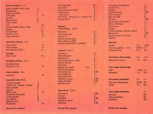 Carte du King's Bar de Lausanne, verso
