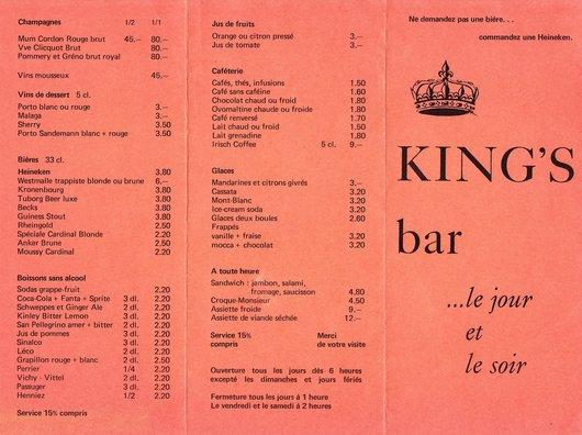 Carte du King's Bar à Lausanne