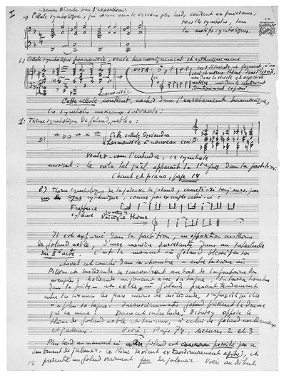 Analyse manuscrite de Pelléas et Mélisandre de Debussy