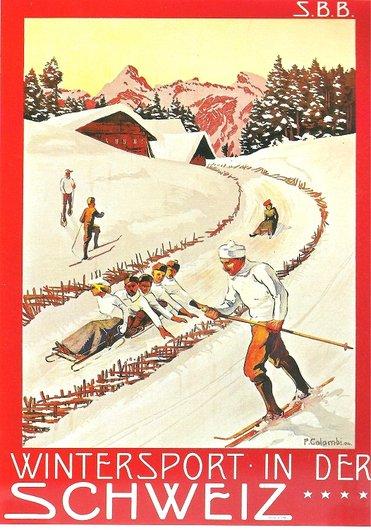 Sports d'hiver en Suisse aux environs de 1900