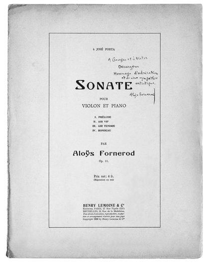 Concerto pour violon et piano écrit pour Les frères Desarzens, par Aloys Fornerod