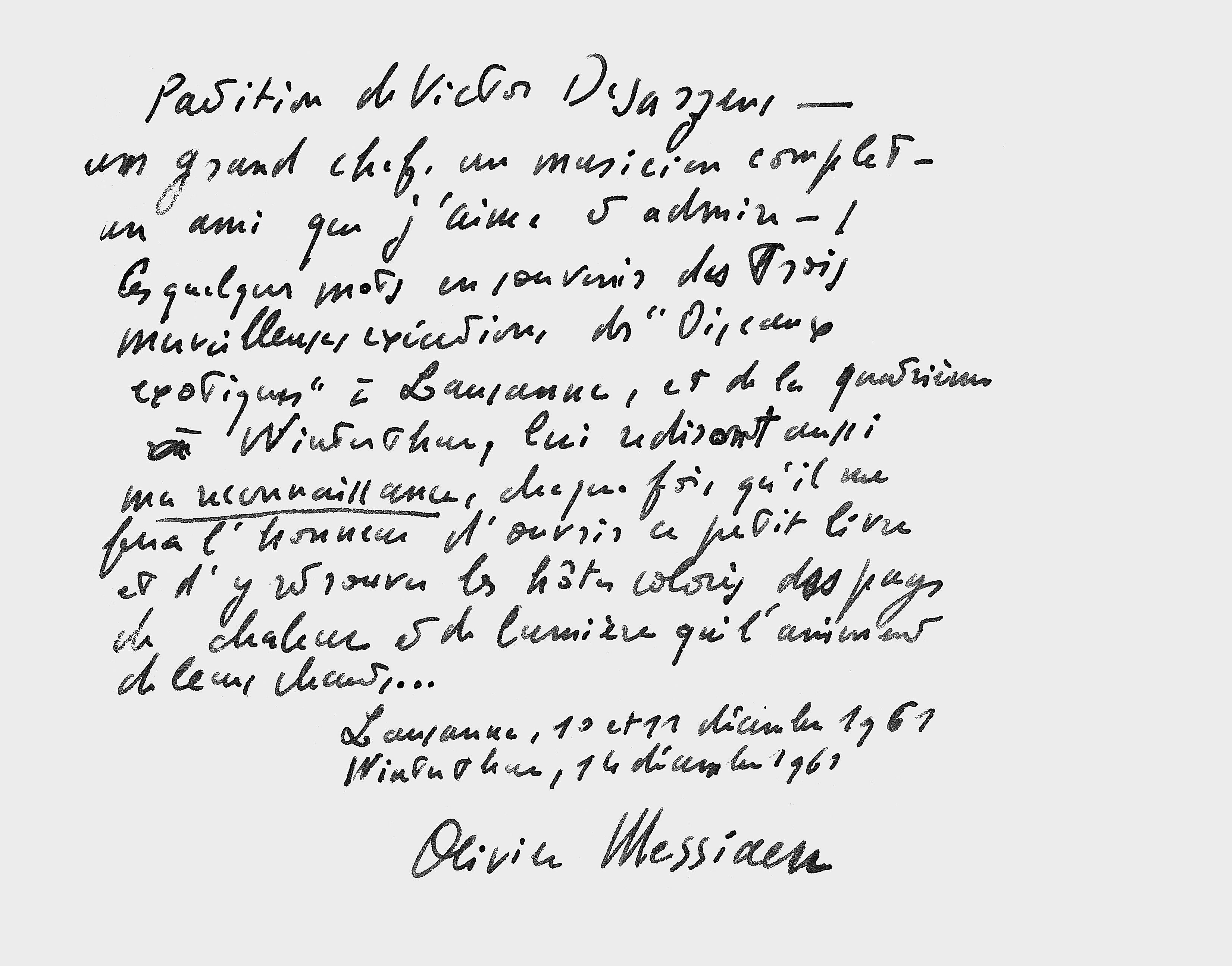 Dédicace d'Olivier Messiaen à Victor Desarzens