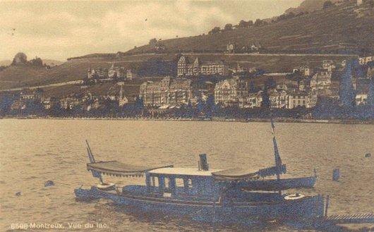 Montreux après 1905 et un joli petit bateau à vapeur