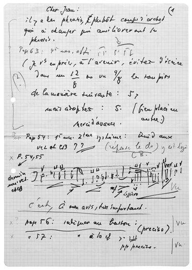 Lettre de Victor Desarzens au compositeur Jean Perrin
