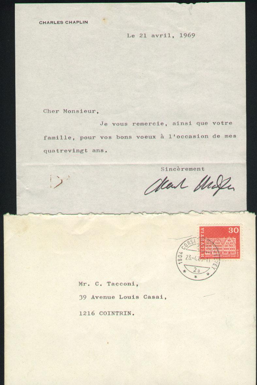 Réponse de Charles Chaplin à mes felicitations pour ses 80 ans