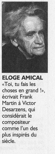 Frank Martin écrit à Victor Desarzens