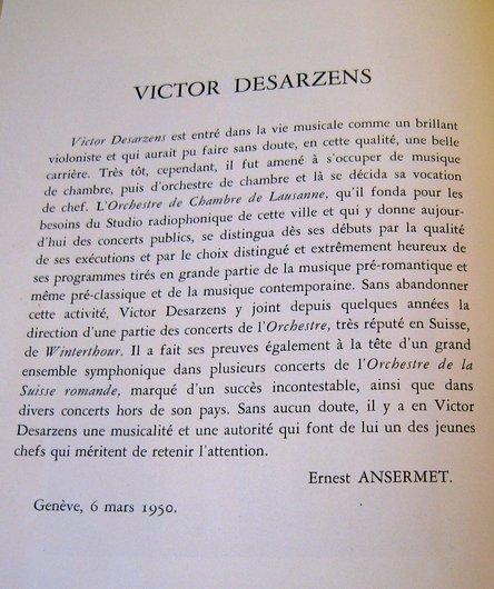 Hommage d'Ernest Ansermet à Victor Desarzens