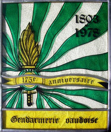 Gendarmerie Vaudoise, vitrail commémoratif