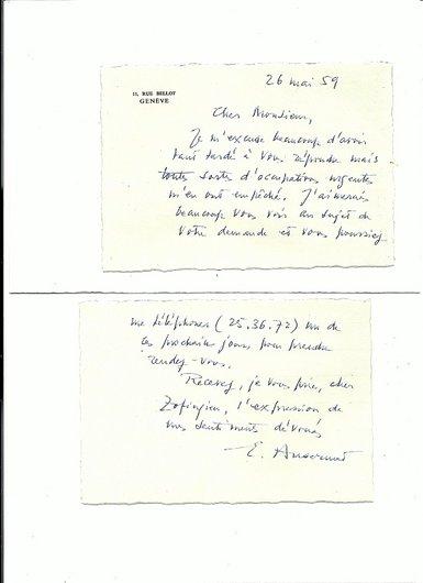 Lettre d'Ernest Ansermet