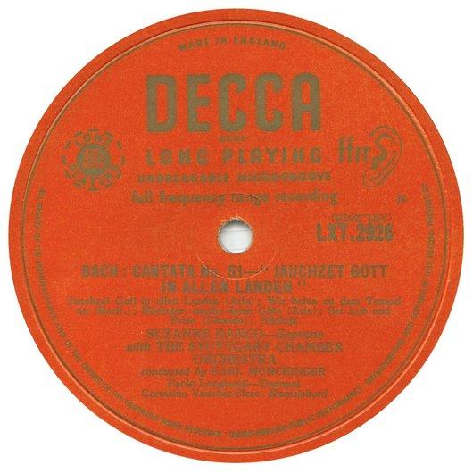 Disque Decca LXT 2926, Label de la première face