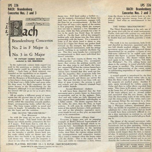 J.S. Bach, BWV 1047, Stuttgarter Kammerorch., Karl Münchinger, disque LPS 226, Verso de la pochette