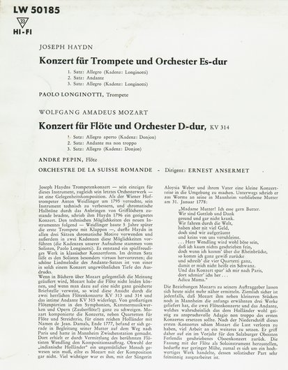 W.A.Mozart, KV 314, André Pépin, OSR, Ernest Ansermet, 1957, disque LW 50185, Verso pochette, détail