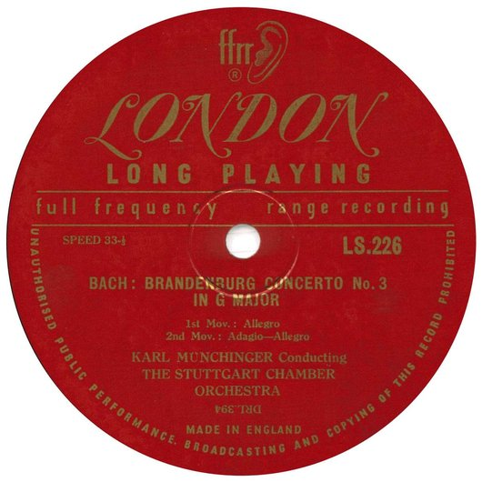 J.S. Bach, BWV 1048, Stuttgarter Kammerorch., Karl Münchinger, disque LPS 226, étiquette 2e face