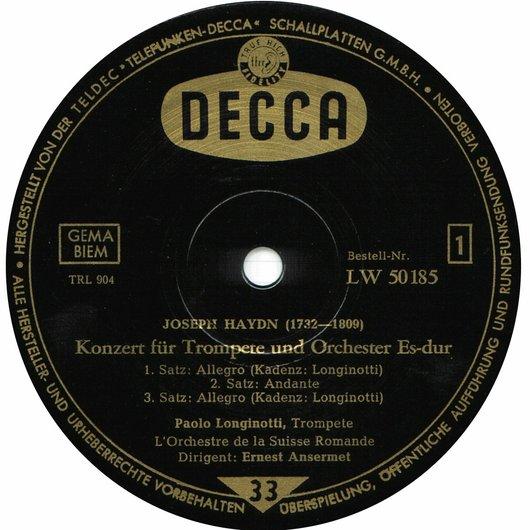 J. Haydn, Hob VIIe:1, Paolo Longinotti, OSR, Ernest Ansermet, LW 50185 Label 1ère face