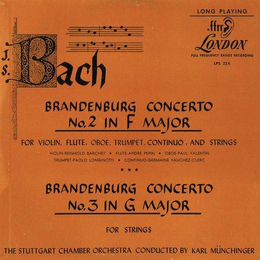 J.S. Bach, BWV 1047, Stuttgarter Kammerorch., Karl Münchinger, disque LPS 226, Recto de la pochette
