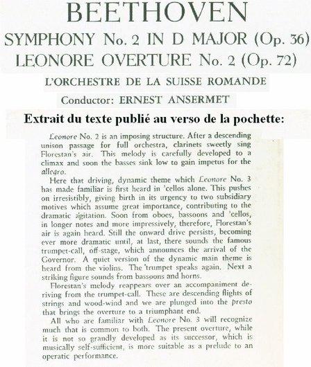 L. van Beethoven, Ouv. Leonore II, Op.72a, Symph. No 2, OSR, Ernest Ansermet, STS 15068 détail verso