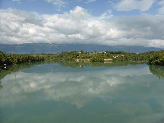 Le Rhône à Peney - Reflets