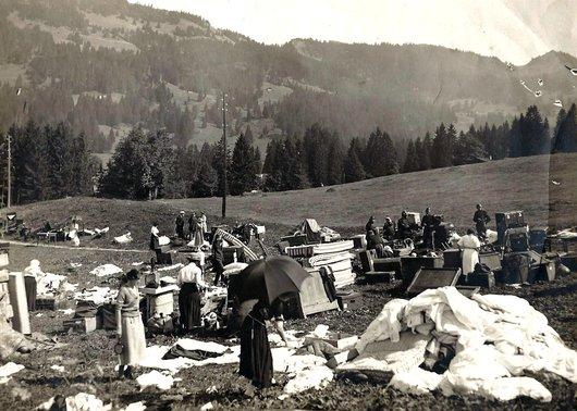 Au lendemain de l'incendie du Grand Hôtel de Villars
