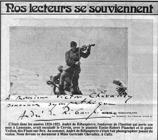 André de Ribaupierre musicien et alpiniste chevronné