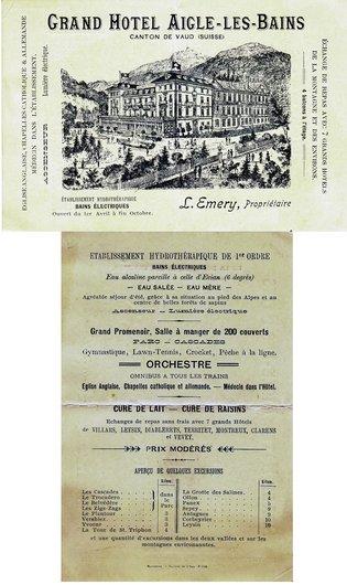 Carte publicitaire du Grand hôtel d'Aigle-les-Bains