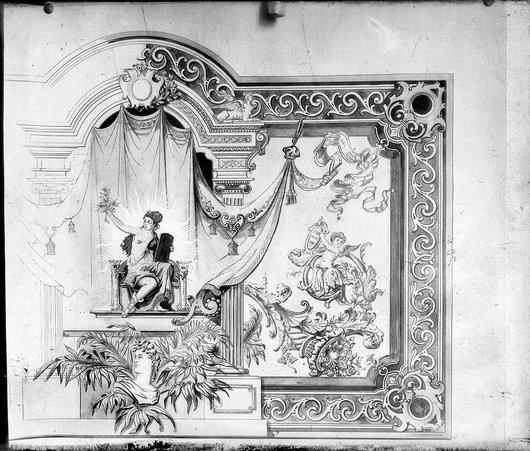 Fresque partie de droite inachevée signée Charles Runge